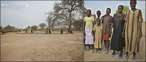 The compound (left) and Arek Anyiel Deng and her familly (right) (Photos by Save the Children's Colin Crowley)
