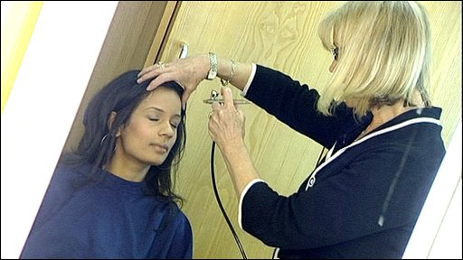 Sonali having her make-up done