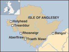 Map showing  Traeth Mawr, near Aberffraw