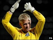 Notts County goalkeeper Kasper Schmeichel