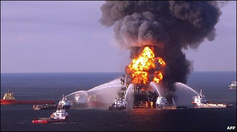 Deepwater Horizon rig on fire 22.04.10
