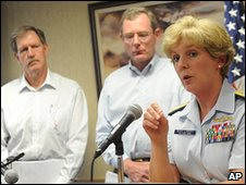 From left: Adrian Rose, Transocean, David Rainey, BP and  US Coast Guard Rear Admiral Mary E. Landry