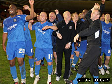 Notts County celebrate winning the League Two title