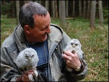 Martin Davison with tawny owl chicks