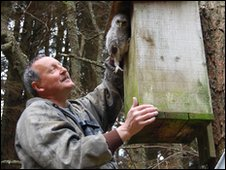 Martin Davison with tawny owl chick