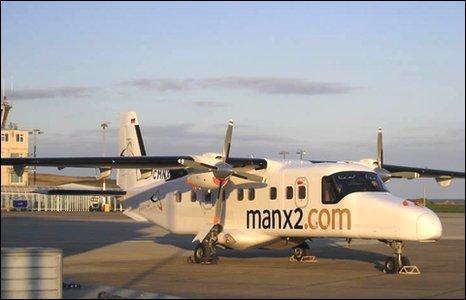 A Manx2.com plane on the runway