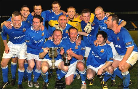 Glenavon celebrate after their Mid Ulster Cup success