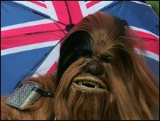 Chewbacca with Union Jack umbrella