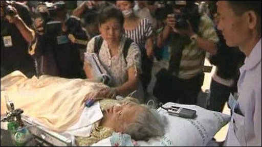 Woman on stretcher