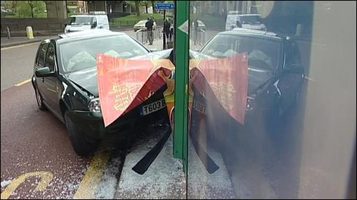 A car crashed into a bus stop during the launch of Labour's new poster campaign