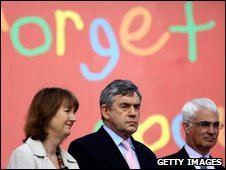 Harriet Harman, Gordon Brown and Alistair Darling at Labour poster launch