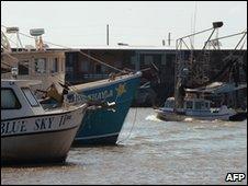 Shrimp boasts moored near Venice, Louisiana