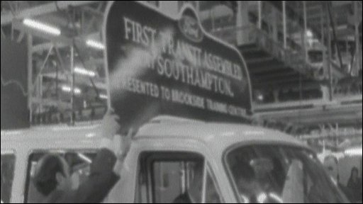 The first Ford Transit at Swaythling, Southampton, comes off the production line in 1972