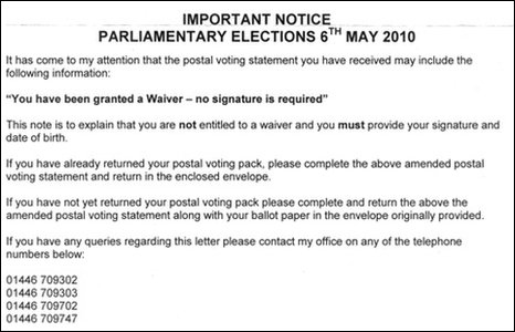 Postal voting error letter from Vale of Glamorgan council