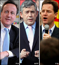 David Cameron, Gordon Brown and Nick Clegg on the campaign trail on Friday