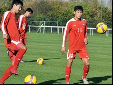 North Korea's World Cup players in training