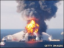 Crews battle a fire on the Deepwater Horizon rig (21 April) 