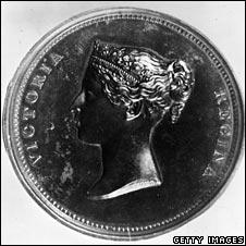 Penny with Victoria's head, circa 1880