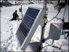 Solar panel at the top of Italian Alps