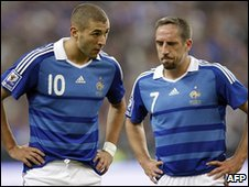 Karim Benzema (l) and Franck Ribery, September 2009