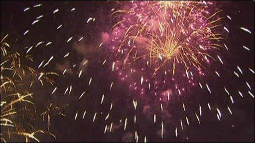 Fireworks exploding over Shanghai