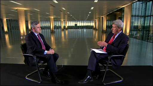 Gordon Brown and Jeremy Paxman (right)
