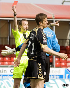 St Mirren defender Chris Innes is sent off by referee Willie Collum