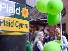 Plaid Cymru campaigning in Carmarthen
