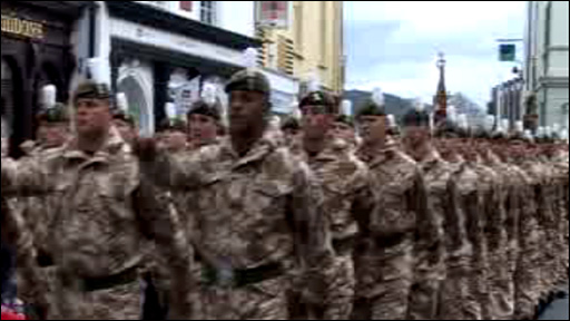 Royal Welsh soldiers march through Brecon