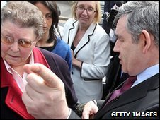 Gordon Brown talking to Gillian Duffy