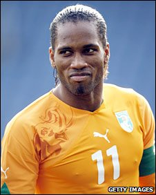 Didier Drogba in action for Ivory Coast