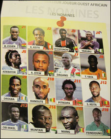 A list of the 16 nominees for West African Footballer of the Year award