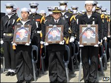 The crew of the Cheonan hold pictures of their late colleagues at the funeral