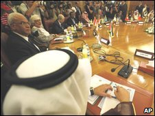Palestinian negotiator Saeb Erekat attends Arab League talks in Cairo