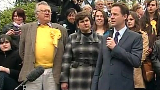 Lib Dem leader Nick Clegg at a rally in Harrogate