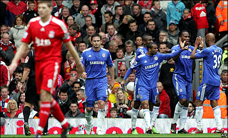 Chelsea celebrate the opener as Steven Gerrard walks away