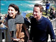 David and Samantha Cameron in Newquay