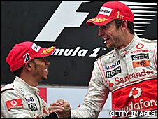 Jenson Button (right) and Lewis Hamilton on the podium in China