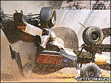 Martin Brundle crashes during the 1996 Australian Grand Prix