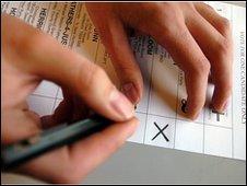 Person casting a vote