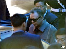 A man who appears to be North Korean leader Kim Jong-il gets into a car in Dalian, China, on 3 May 2010
