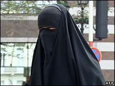 Woman wearing burka in Brussels