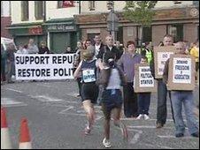 Protestors on Falls Road