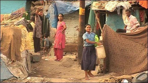 People living in one of India's slums
