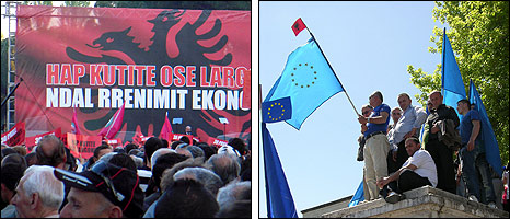 Tirana rallies by opposition Socialists (left) and Democratic Party, 30 Apr 10