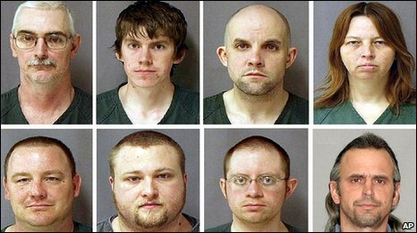 The accused: From top left, David Brian Stone Sr, David Brian Stone Jr, Jacob Ward, Tina Mae Stone. From bottom left: Michael David Meeks, Kristopher T Sickles, Joshua John Clough, Thomas William Piatek