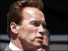 California's Governor Arnold Schwarzenegger in Sacramento, California - 3 May 2010