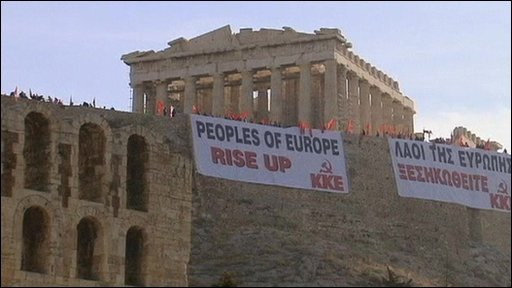 Some have taken their protest to Greek landmark the Acropolis.