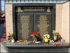 Bradford Fire memorial at Valley Parade
