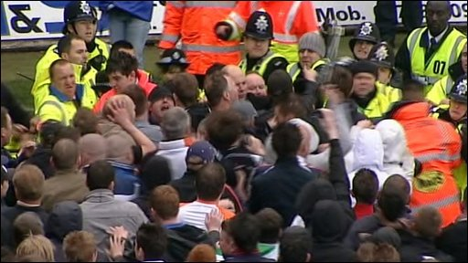 Luton Town pitch invasion